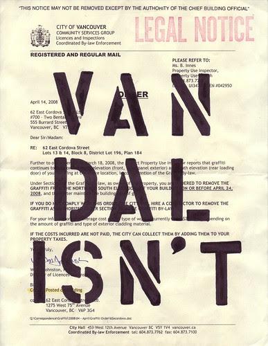 vandalisnt - illegal notice