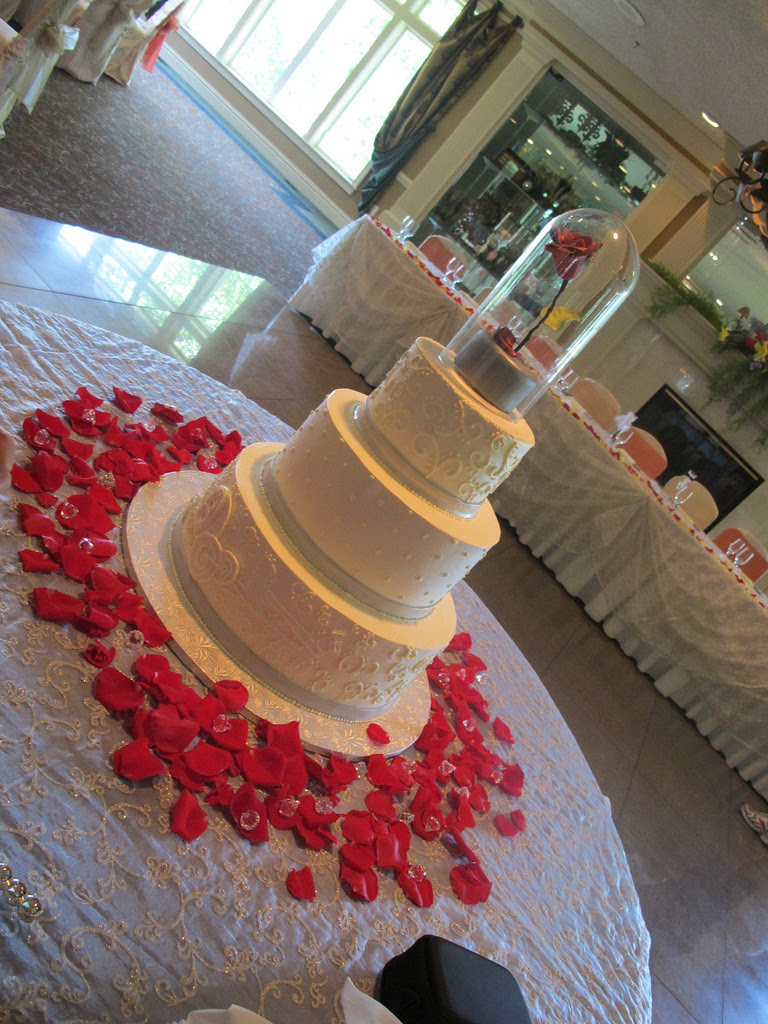 Beauty and the Beast Red Rose Disney Wedding Cake - Disney Every Day