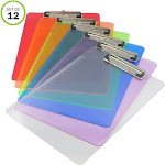 Evelots Standard Size Clipboards-Transparent Colors-Office-Classroom -Set/12