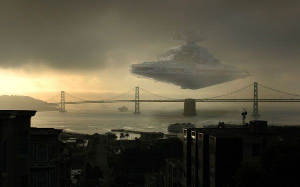 Cool artwork showing a Star Destroyer approaching San Francisco Bay.