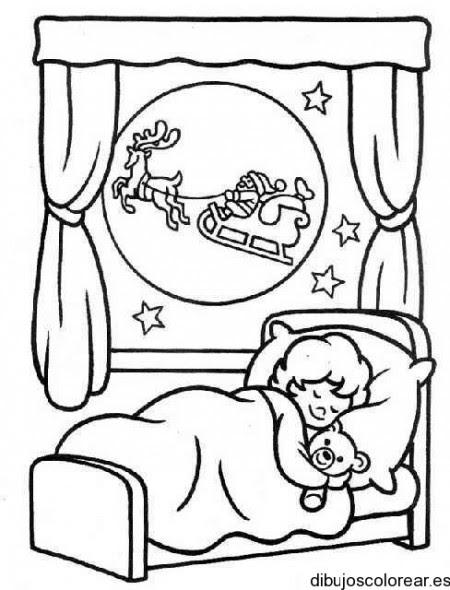 Dibujo De Un Niño Durmiendo En Navidad