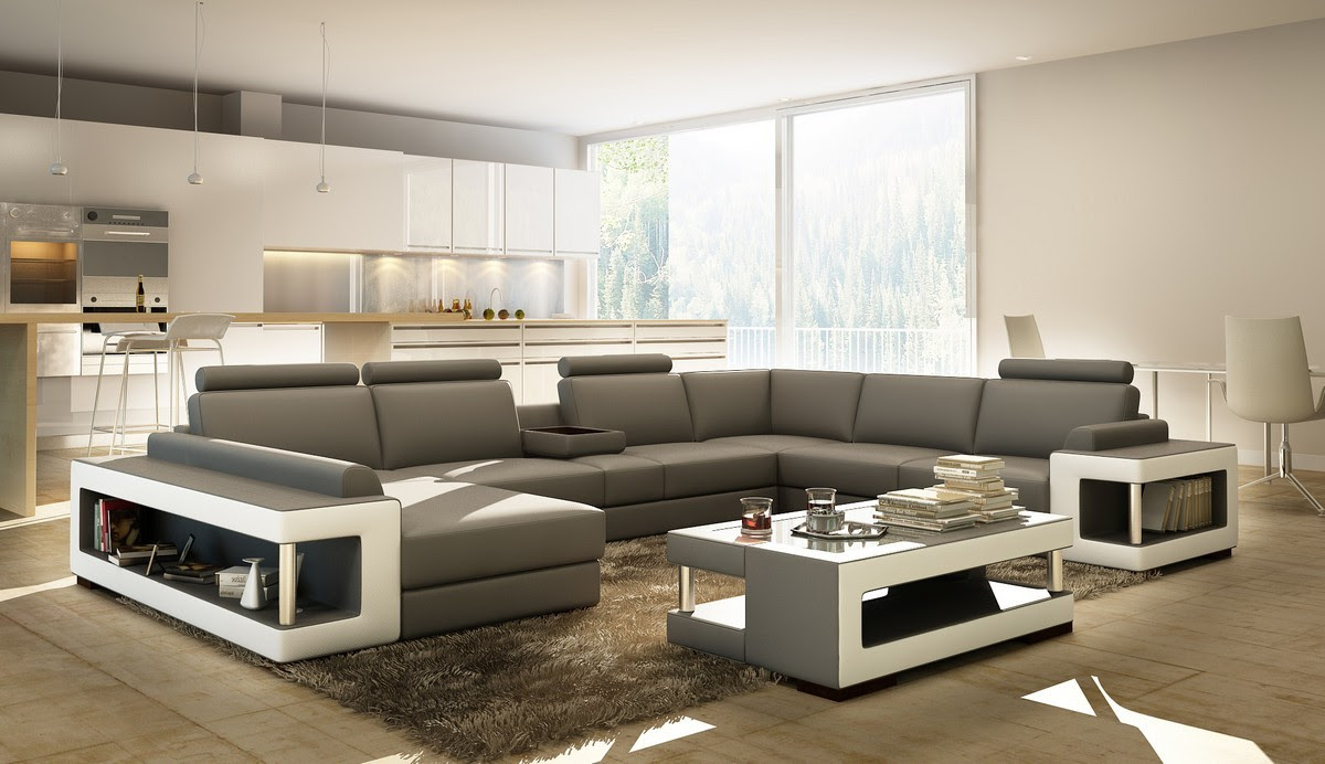 Divani Casa 5080 Grey and White Bonded Leather Sectional ...