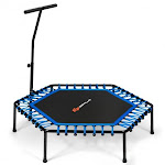 """51"""" Mini Fitness Trampoline with Adjustable Bar 