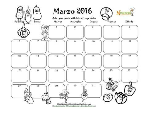 Marzo Colorea Tu Plato Con Verduas Calendario Para Colorear Y