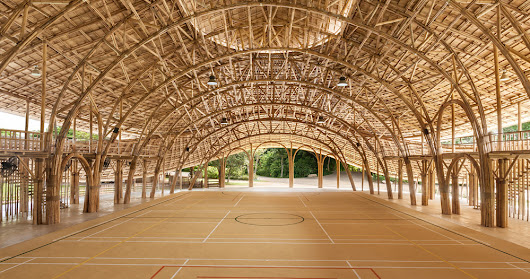 chiangmai life architects builds bamboo sports hall in thailand