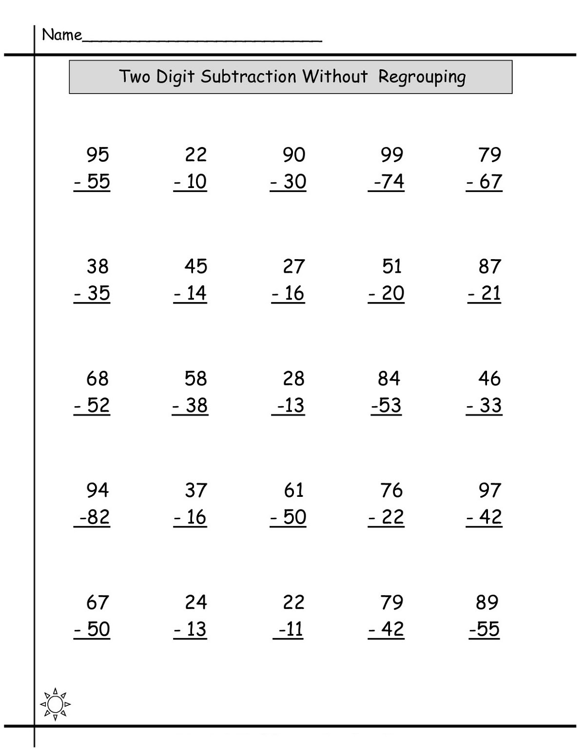 Year 3 Maths Worksheets Subtraction