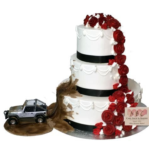 (2081) Jeep throwing mud on 3 Tier Wedding Cake   ABC Cake