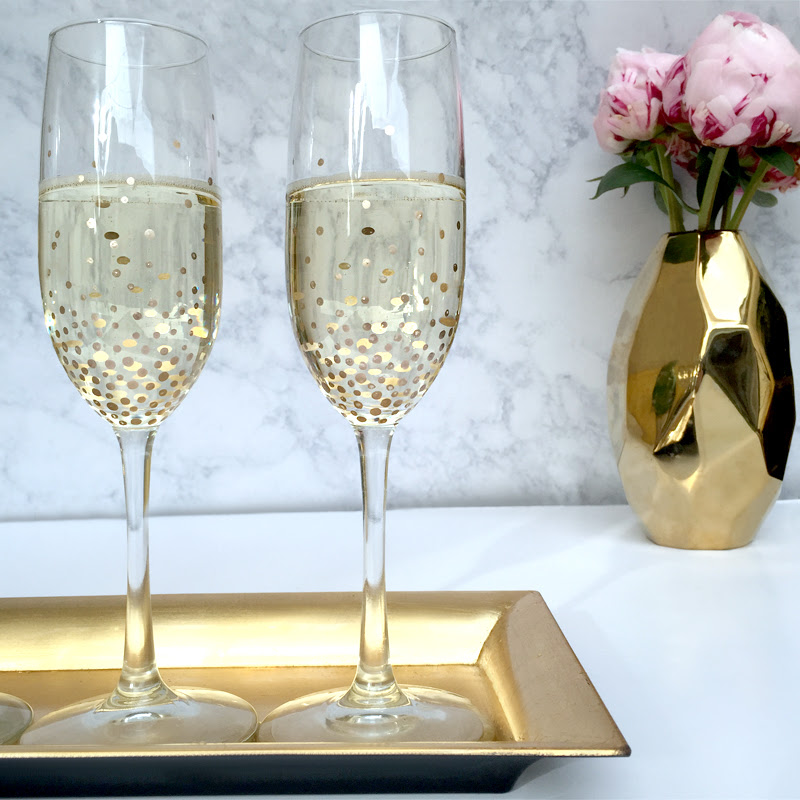 Diy Gold Dot Champagne Flutes Luluscom Fashion Blog