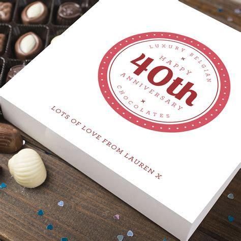 Personalised Belgian Chocolates   40th Anniversary