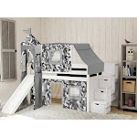 JACKPOT! Castle Low Loft Twin Stairway Bed with Slide Gray Camo Tent and Tower, White