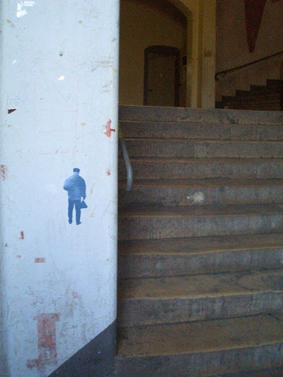 man beside step