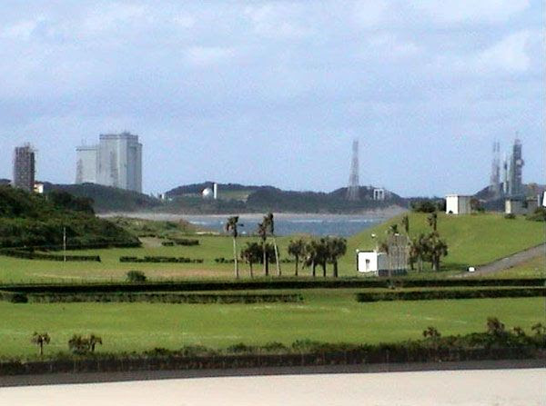 A webcam shot showing Tanegashima Space Center in Japan, on May 16, 2010 (California time).  The H-IIA rocket is visible near the right side of the pic.