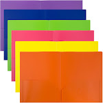 JAM Eco Primary - Pocket folder - 2 compartments - Letter - for 75 sheets - blue, yellow, purple, orange, pink, lime green (pack of 6)