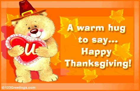 Hugging You On Thanksgiving! Free Family eCards, Greeting