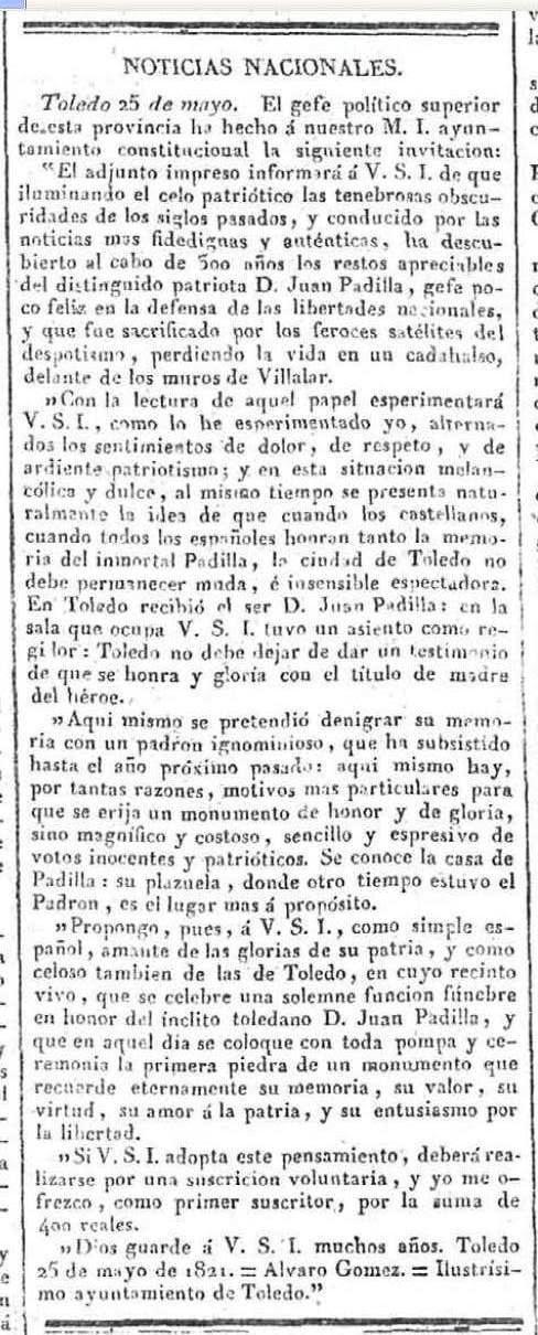 Petición de un monumento a Juan de Padilla en Toledo. Diario El Universal, 31 de mayo de 1821