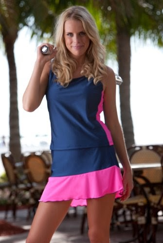 Navy Tennis Skirt With Pink Ruffle | Tennis Outfits For ...
