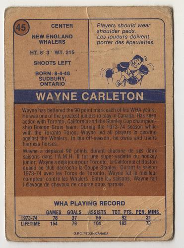 Wayne Carleton back
