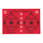 Graphic design baubles and stars pets christmas laminated place mat