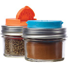 Jarware 82642 Spice Lids for Regular Mouth Mason Jars, Set of 2, Orange and Blue