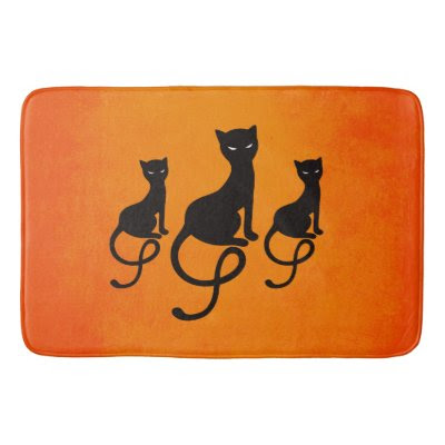 Orange Three Evil Gracious Black Cats Bath Mats