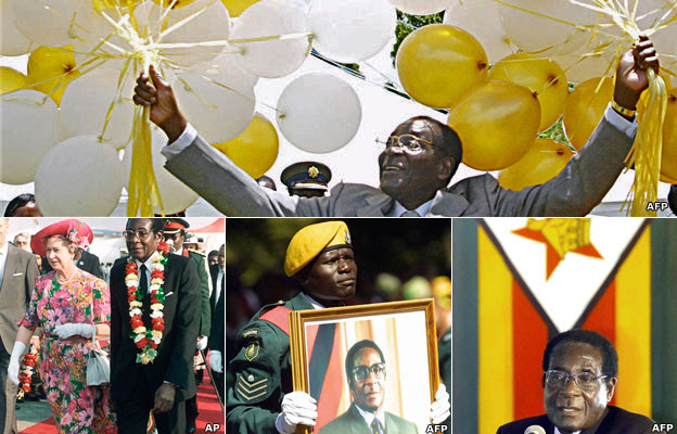 Top: Robert Mugabe holding ballons, Bottom: Left: Robert Mugabe with Queen Elizabeth II. Middle: A soldier holding a portrait of Robert Mugabe Right: Robert Mugabe talking into a microphone with the flag of Zimbabwe behind him