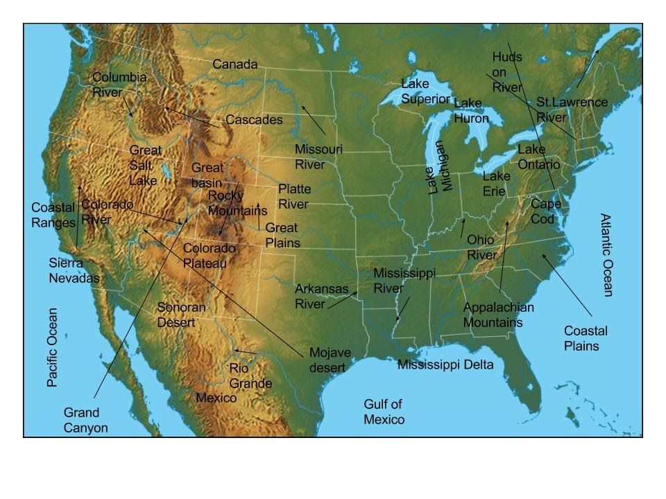 Us Physical Map With Rivers And Mountains