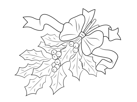 Coloriage Houx De Noël Avec Noeud Rouge Coloriages à Imprimer