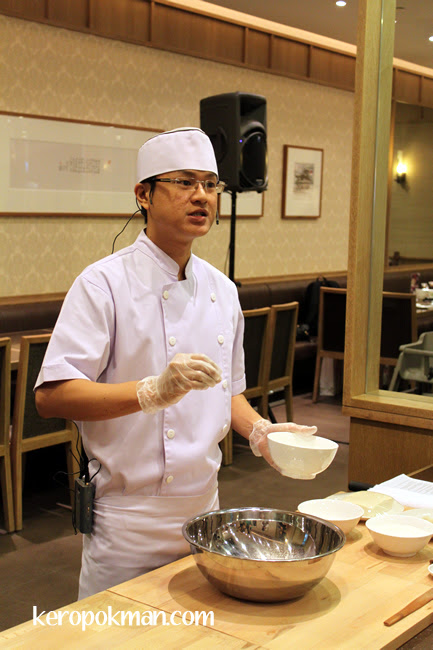 Head Chef at Din Tai Fung showing us how to make their Xiao Long Bao