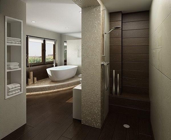 A modern, doorless shower in the bathroom