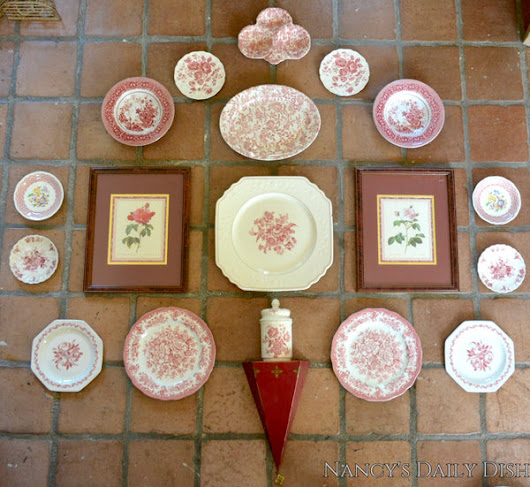 5' Instant Wall Decor! Red & White Framed Botanical Roses Prints, Tole Shelf, & 16 Antique Mix n Match Red Transferware Plates & Jar