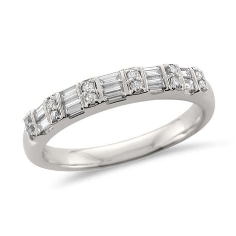 1/2 CT. T.W. Baguette and Round Diamond Wedding Band in