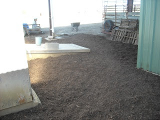Landscaping Mulch Beginning on North Side Lean-to