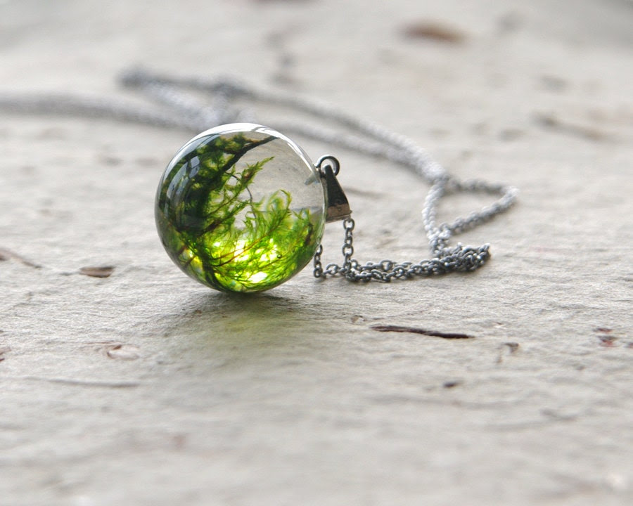 Real moss globe necklace - unique woodland crystal resin orb ball - stainless steel chain - UralNature