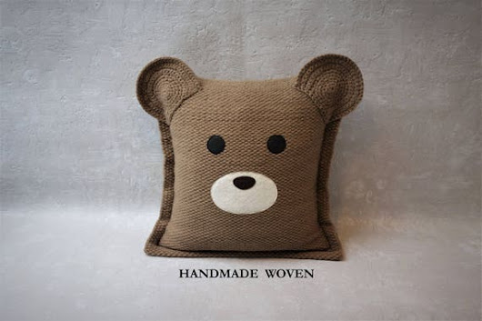 Bear decorative pillow throw pillow nursery decor