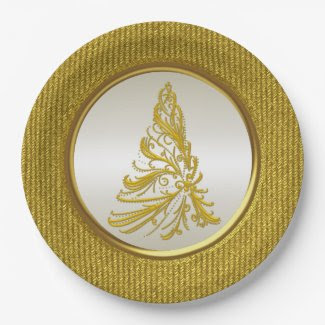 Yellow Gold Christmas Tree 9 Inch Paper Plate