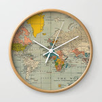 Vintage World Map Wall Clock by Nexart - Natural - White