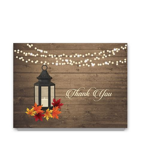 Rustic Fall Leaves Lantern Wedding Thank You Card