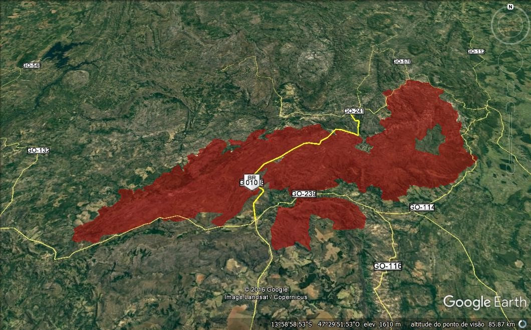 As estradas que cortam e circundam a nova área do Parque Nacional.