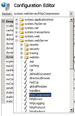 Selecting the httpCompression node in the Configuration Editor in IIS Manager