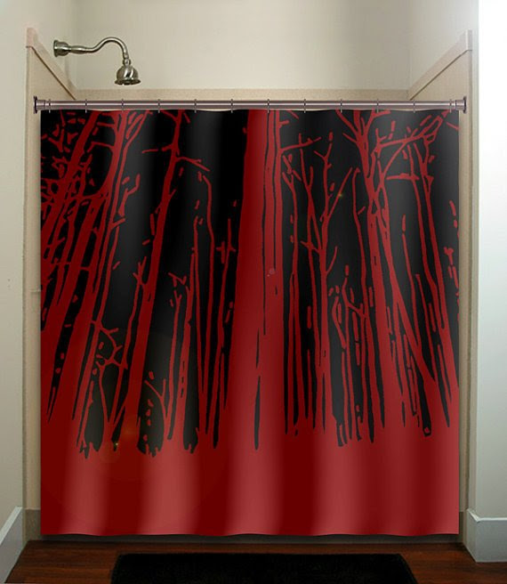 woodland grove forest red winter trees shower curtain bathroom ...