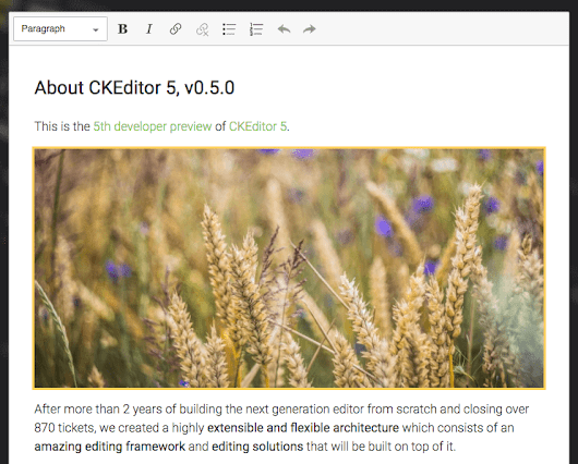 5th developer preview of CKEditor 5 available
