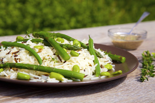 Wild Rice and Asparagus Salad with Sumac Dressing and Lemon Thyme
