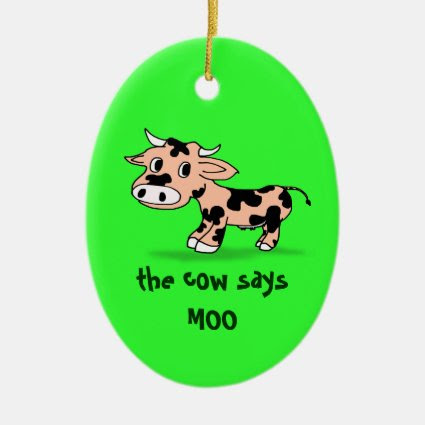 Patterned Cartoon Moo Cow on Green Ornament
