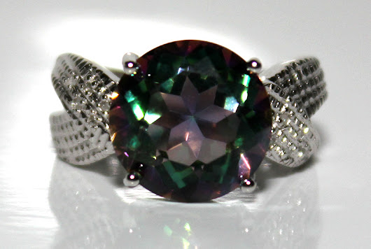 Gorgeous Brand New 6.31ctw Green Mystic Gemstone & Natural Diamond Platinum Over .925 Silver Ring