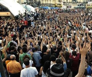 Indignados en Madrid. Foto de archivo