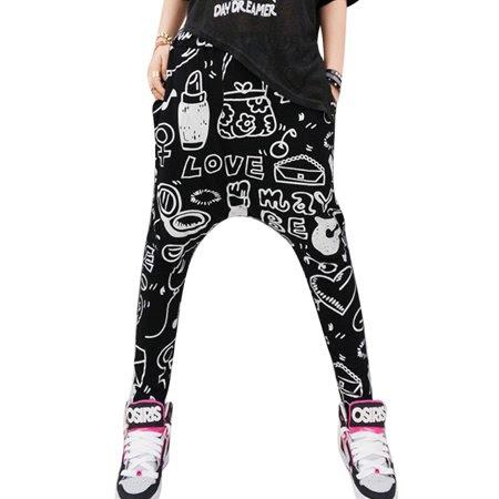 Women's Elastic Waist Novelty Prints Cozy Fit Harem Yoga Pants (Size XS \/ 2)
