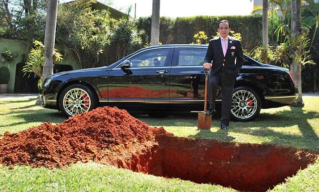 His Bentley is his prized possession, so he's burying it, inspired by the Egyptian Pharaohs, in the hope of having it in his afterlife