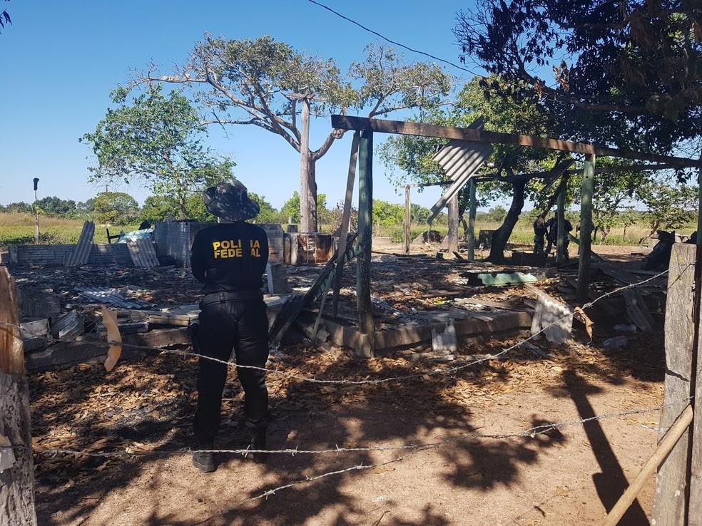 A Polícia Federal inicou na manhã desta terça-feira, 4, a reconstituição da chacina que matou 10 pessoas na fazenda Santa Lúcia, em Pau D'Arco, no sudeste do Pará (Foto: Ascom/PF)