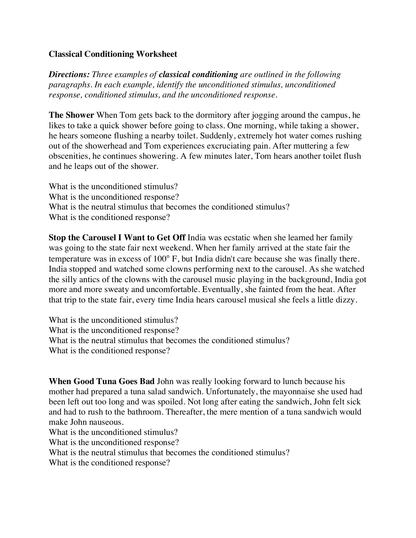 35 Classical Conditioning Worksheet Answer Key - Worksheet ...