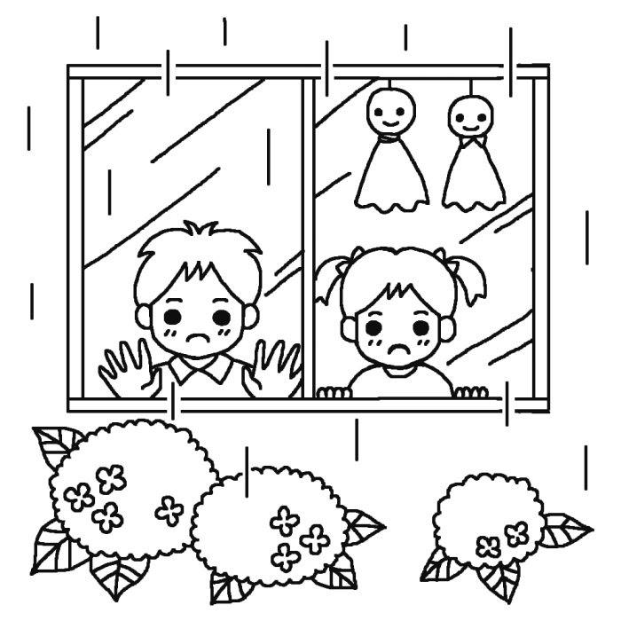 明日天気になぁれ白黒梅雨6月の無料イラスト夏の季節行事素材